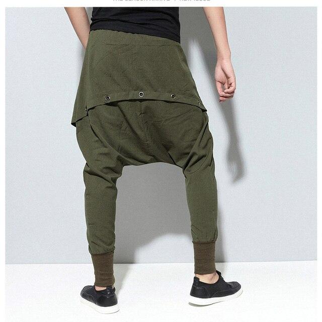 Moomphya 2017 new hip hop dance Baggy jogger pants elastic waist fashion multilayered draped street wear Cross pants Harem pants 4