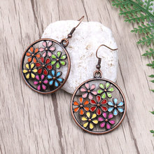 Vintage Bohemian Ethnic Antique Flower Oil Drip Hollow Round Earrings