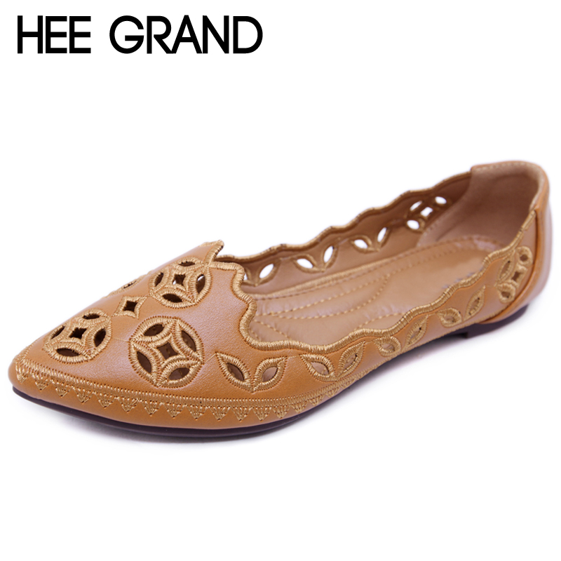 HEE GRAND Summer Women Loafers Split Leather Pointed toe Flats Shoes Women Slip On Shallow Cut-Out Soft Women Shoes XWD6870 xiaying smile hollow out flats shoes women boat shoes summer casual loafers slip on pointed toe shallow rubber women solid shoes