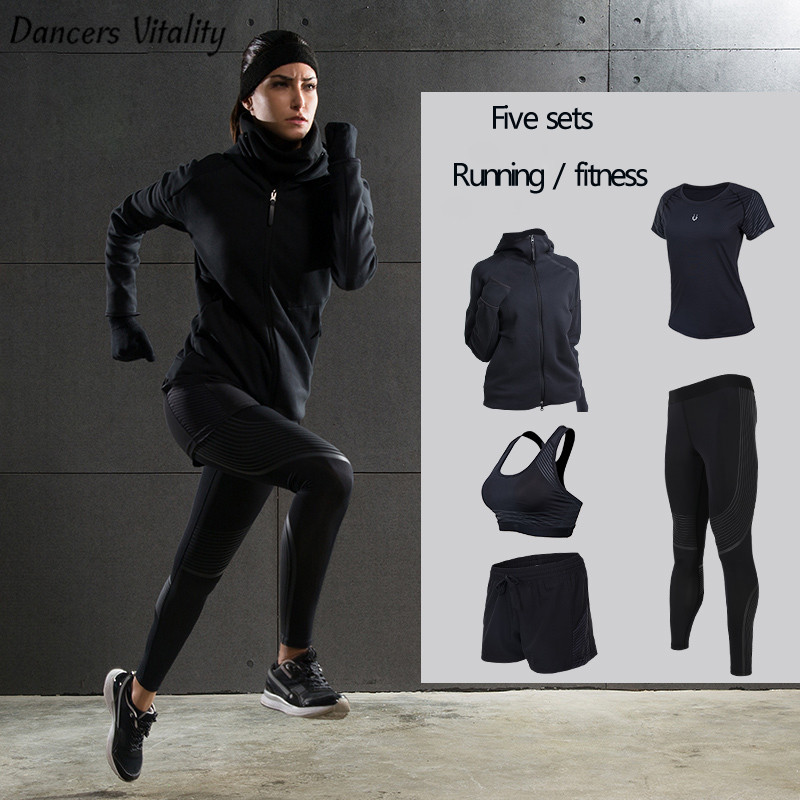 New Winter Yoga Suit Five -Piece Female Ms Breathable Coat Of Cultivate One's Morality Pants Sports Suits Running Fitness new winter 2015 women cotton padded clothes draw string of cultivate one s morality show thin fashionable