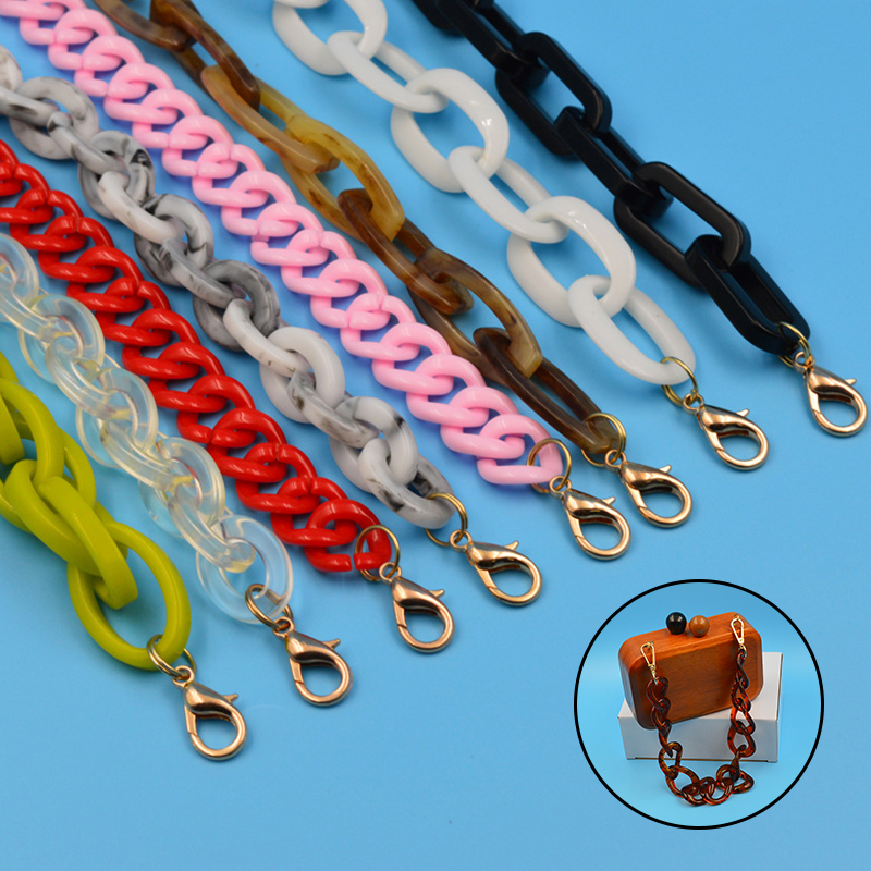 60cm Colorful DIY Resin Bag Strap Acrylic Female Bag Chain For Thick Shoulder Bags Handbag Buckle Handle Belt Bag Accessories(China)