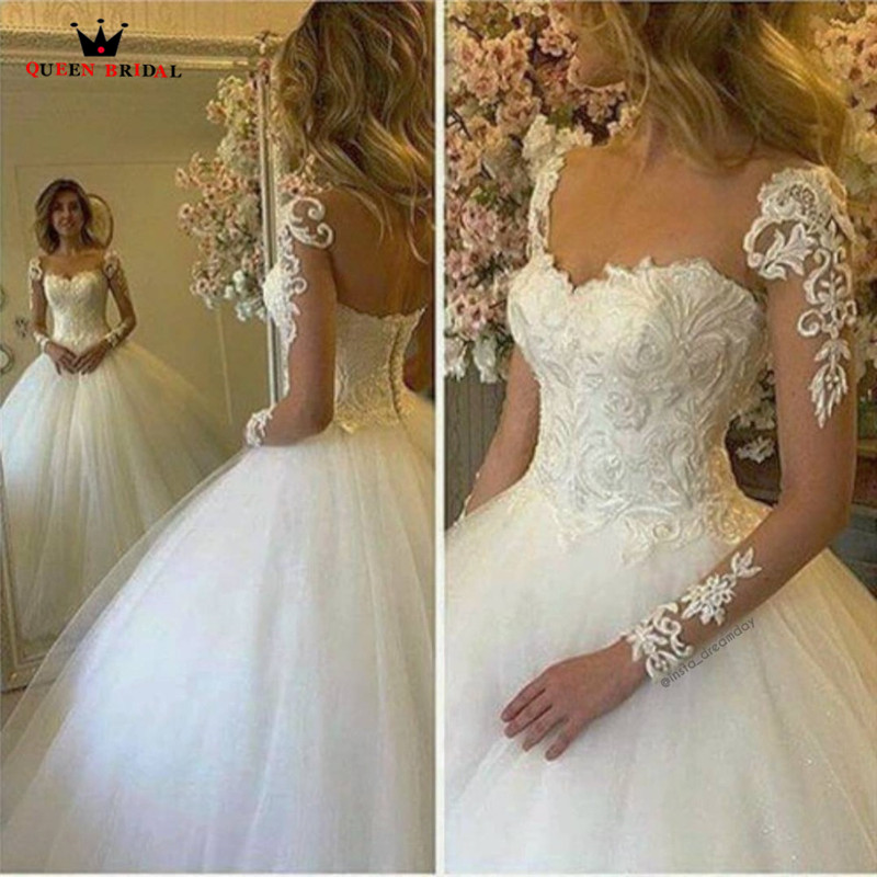 Custom Made Ball Gown Long Sleeve Lace Beading Tulle Romantic Elegant Vintage Wedding Dresses robe de mariage Bridal Gown ME07