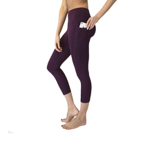 TOIVOTUKSIA Phone Pocket Brushed Capri Legging High Waist Casual Fitness Clothing Womens Leggings