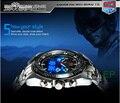 ТВГ 2018 Высокое качество нержавеющая сталь черный для мужчин часы модные синие светодио дный бинарные светодиодный указатель s 30AM водонепроница - фото