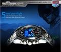 Dos homens Negros Hight Qualidade Em Aço Inoxidável Relógio Moda Binário Azul LED Ponteiro Assista Mens 30AM Relógios À Prova D' Água