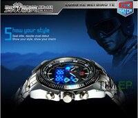 TVG Hight Qualité En Acier Inoxydable Noir Hommes de Horloge Mode Binaire Bleu Pointeur LED Watch Mens 30AM Montres Étanches