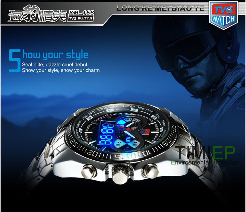 TVG Hight Quality Stainless Steel Black Men s Clock Fashion Blue Binary LED Pointer Watch Mens