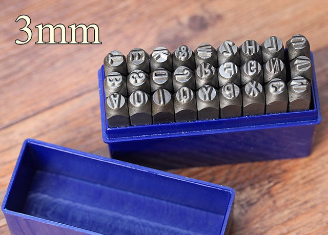 3mm steel metal letter punch set kit woking tool 18 alphabet punch