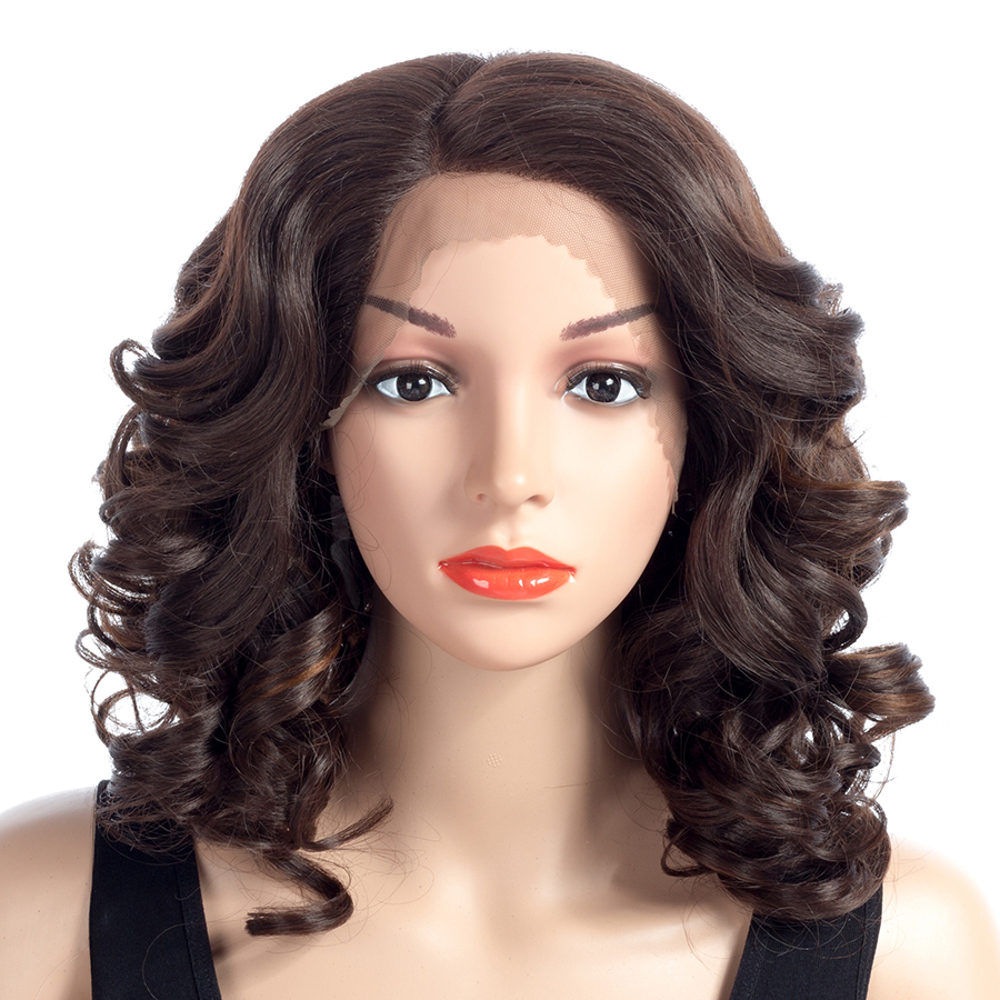 Bling Hair kanekalon Curly Synthetic Hair Blonde Brown Lace Front Wigs for Women Heat Resistant 18 Inches 150% Density