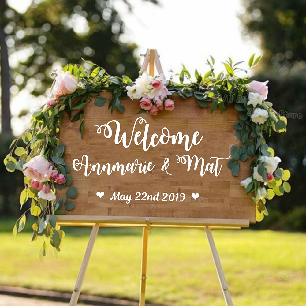 Customised Name and Date Wedding Welcome Sign Stickers Wooden Waterproof Vinyl Decals Cute Font Personalised Wedding Decor S430