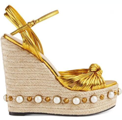 Sexy gold leather buckle strap platform wedge sandal for woman Summer peep toe rivets and pearls decorations gladiator shoes Sexy gold leather buckle strap platform wedge sandal for woman Summer peep toe rivets and pearls decorations gladiator shoes