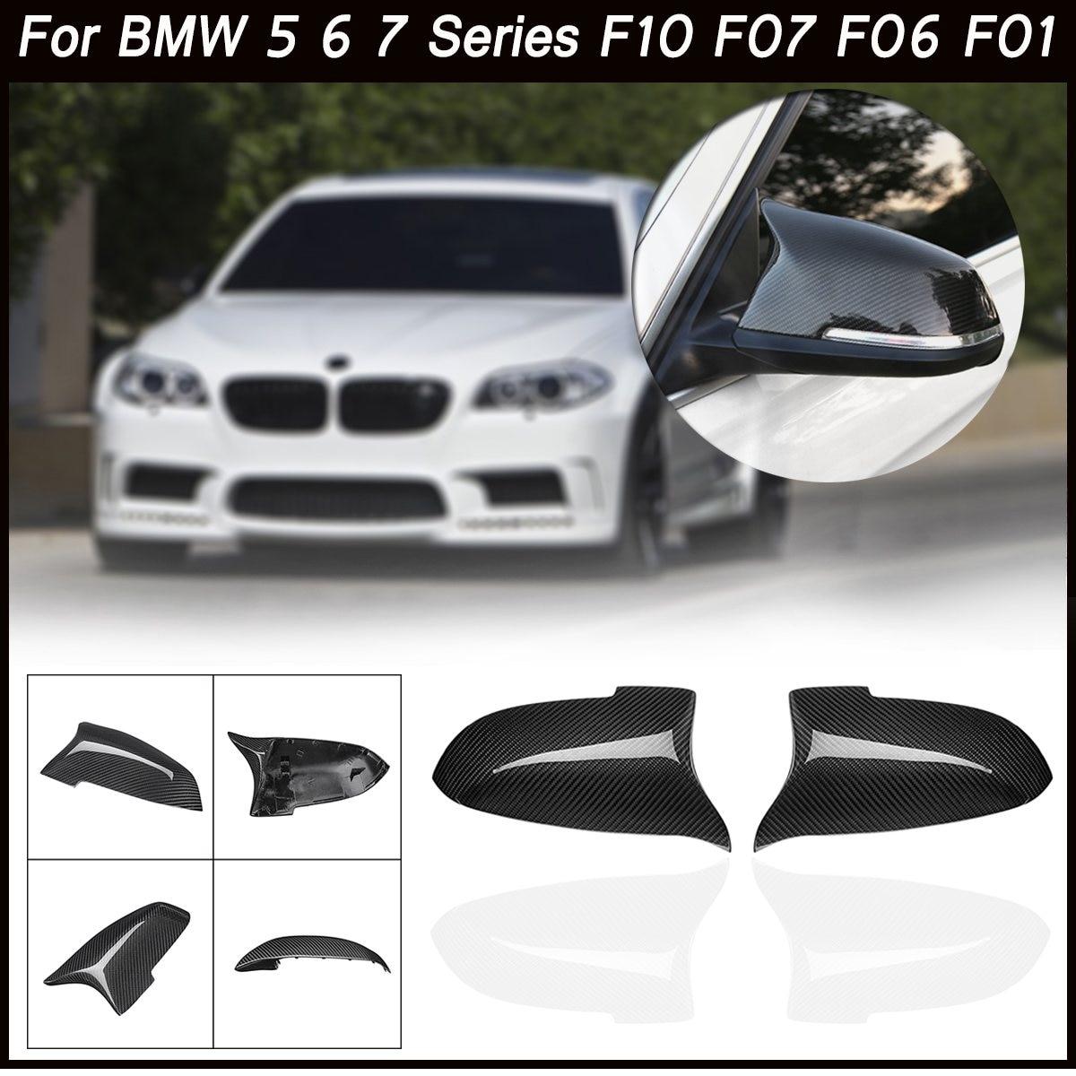 Крышка В виде ракушки для BMW 5 6 7 серии F10 F07 F06 F01 реальные углеродного Волокно двери стороны посмотреть заднего вида крышка Зеркало Замена шап...