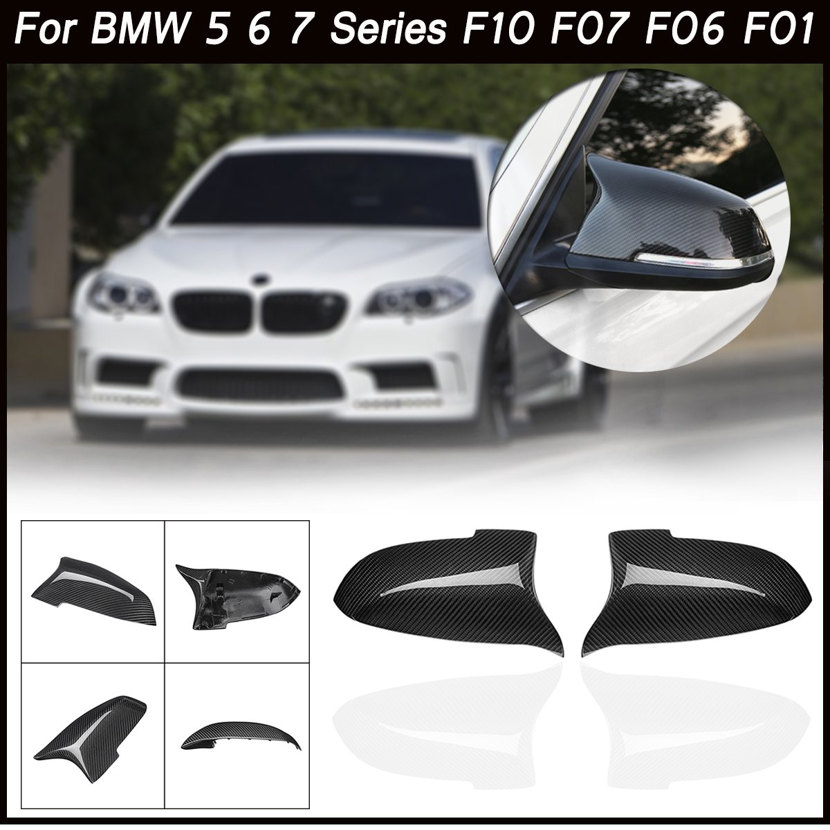 Cover Shell For BMW 5 6 7 Series F10 F07 F06 F01 Real Carbon Fiber Door Side Look Rear View Mirror Cover Replacement Caps