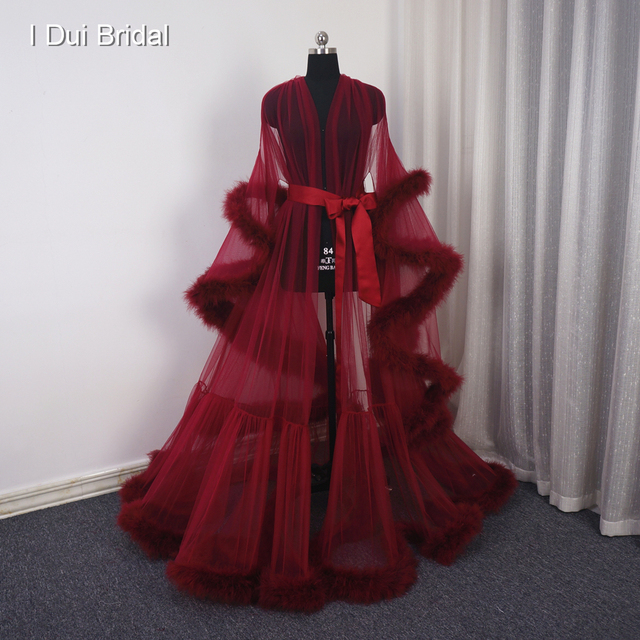 Burgundy Feather Boudoir Robe Tulle Illusion Bridal Robe Long Gift for Bride Homecoming Party Dress