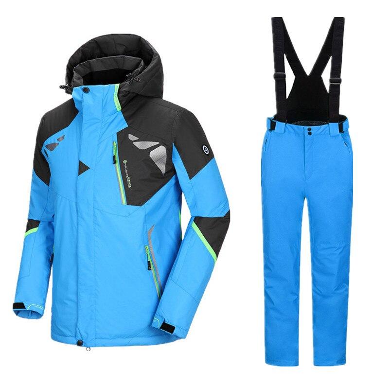 Épaissir Ski Vestes de Ski Costume Hommes Snowboard Costumes Hommes Snowboard Ensemble Mâle Hiver Hommes de Ski Costume des Hommes Imperméables À L'eau pantalon Chaud