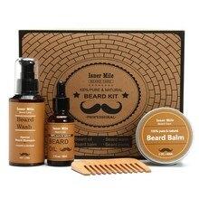 Beard Oil Comb Beard Balm Wash 4Pcs/set Grooming Set Home Travel Hair Kit Gift For Men Storage Carton Grooming Care Tool