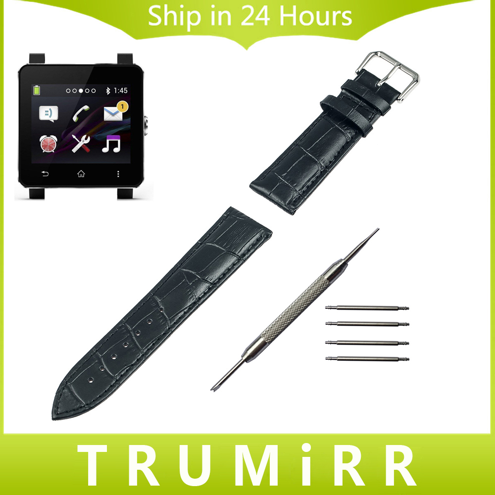 24mm genuine leather watchband for sony smartwatch 2 sw2. Black Bedroom Furniture Sets. Home Design Ideas