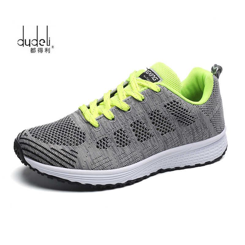 Hızlı teslimat Kadın rahat ayakkabılar moda nefes Yürüyüş örgü dantel up düz ayakkabı sneakers kadın 2018 tenis feminino