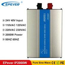 EPever 2000W Pure Sine WAVE อินเวอร์เตอร์ 24VDC 48VDC อินพุต 110VAC 120VAC 220VAC 230VAC เอาต์พุต 50HZ 60HZ ปิดอินเวอร์เตอร์ IPower