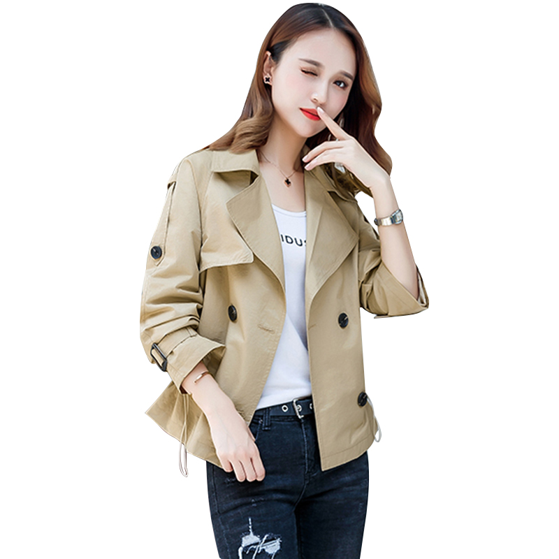 2019New Spring Autumn Classic Solid Lapel Trench Coat Casual Short Coat Women Fashion All match Windbreaker