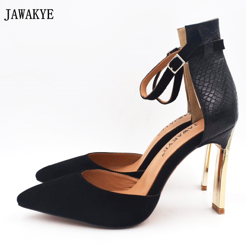 JAWAKYE red white suede snake leather thin high heels sandals women ankle strap cover golden heel size cut out shoes for women luxury women shoes newest high quality hot sale fashion cheap price sexy crystal thin heel shoes suede cut out ankle big size 10