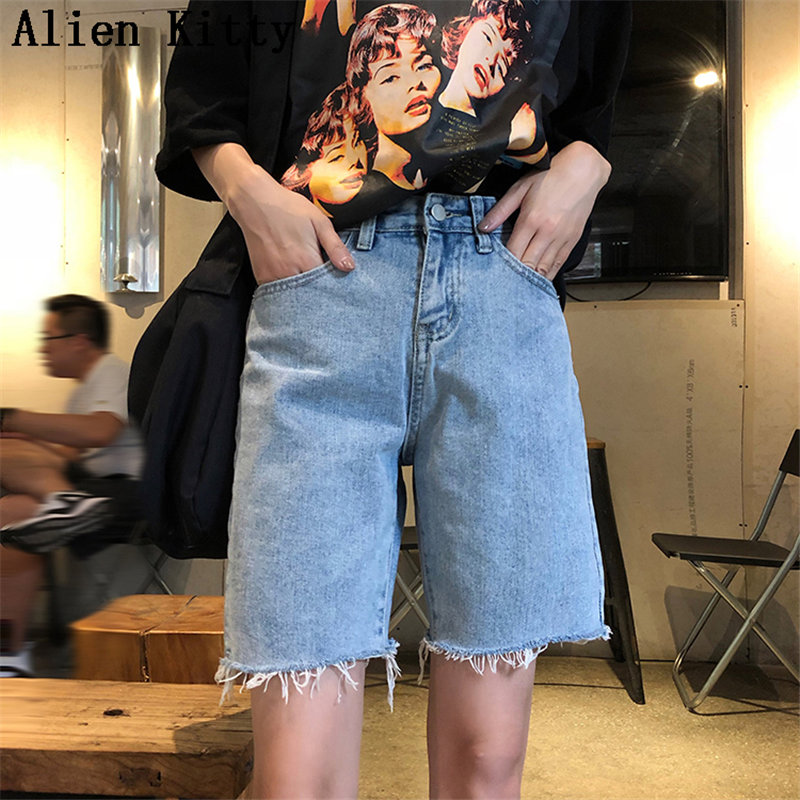 Alien Kitty Zipper Fly New  Summer High Waist New Style Simple Hot Sale Denim Shorts Women Fashion Sexy Jeans Shorts Female