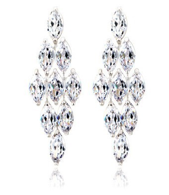 Fashion Wedding Luxury Bijoux CZ Diamond AAA Cubic Zirconia Drop Chandelier Earrings Women TM27 - SEU Jewelry store