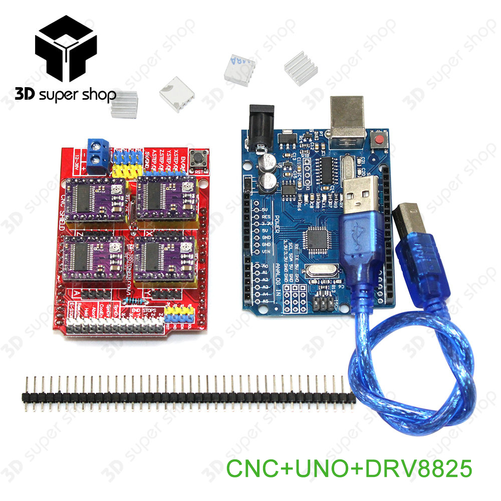 cnc shield v3 engraving machine 3D Printer+ 4pcs A4988/DRV8825 driver expansion board UNO R3 ATMEGA328P-AU with USB cable 4x a4988 stepper motor driver with heat sink cnc shield expansion board for arduino uno r3 v3 engraver 3d printer