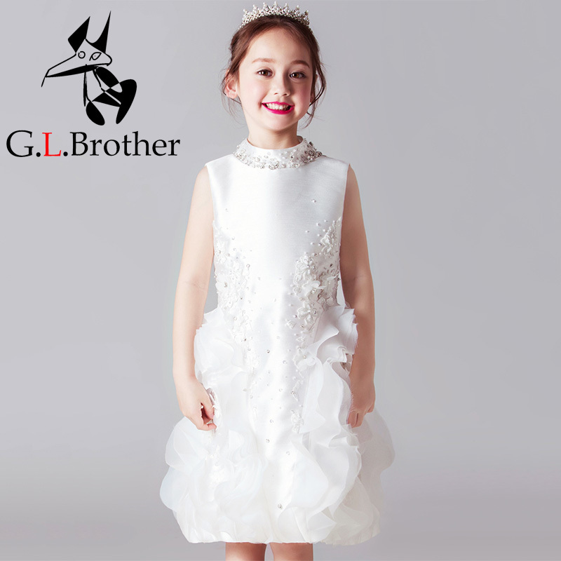 High End Royal Princess Prom Dress Stand Collar Flower Girl Dresses Wedding Satin Crystal Kids Pageant Dress Birthday Costume