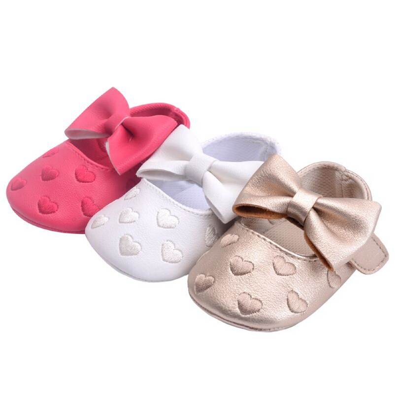 Baby Moccasins Hook & Loop Unisex Baby Infant Shoes PU Leather Soft Soled Big Bow 13 Color Available Toddler Crib Shoes