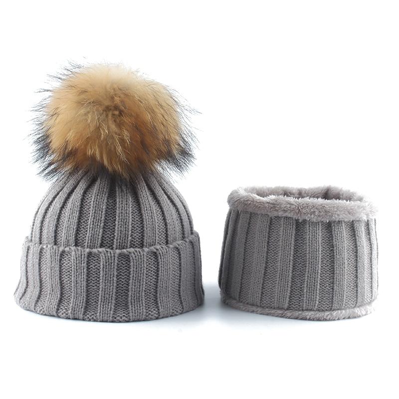Kids Boys Girls Warm Fleece Liner Beanie Hat With Scarf Winter Knitted Hats For Children Baby Fur Pompom Skullies Beanies