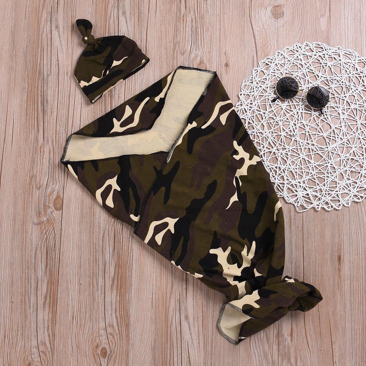 Newborn Baby Girl Boy Camo Swaddle Wrap Cotton Blanket Sleeping Bag+Hat Outfits
