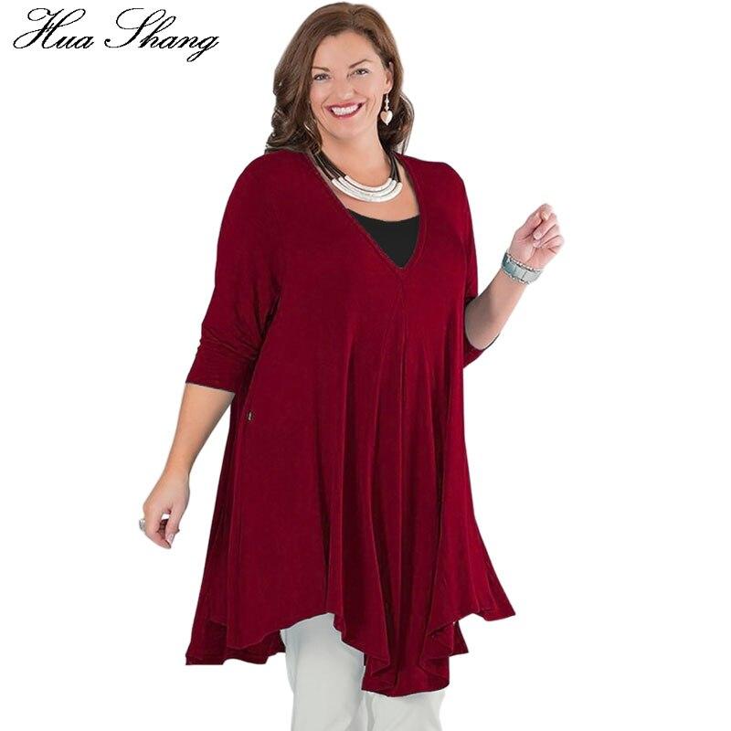 c297bd013fa 5XL Plus Size Long Blouse Women Autumn Winter V Neck Long Sleeve Loose Large  Size Tunic