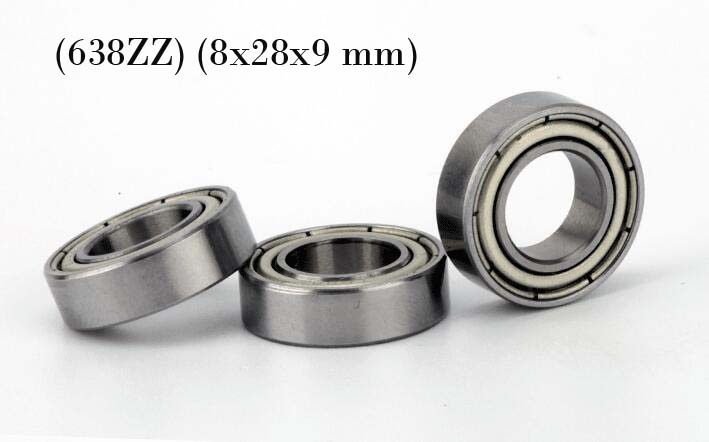 (10 PCS) (638ZZ) (8x28x9 mm) Double Metal Shielded Ball Bearing Bearings 638z