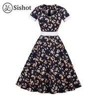 Sishot Women Vintage Dresses Summer Dark Blue Floral Prints Knee Length Short Sleeve Hollow A Line