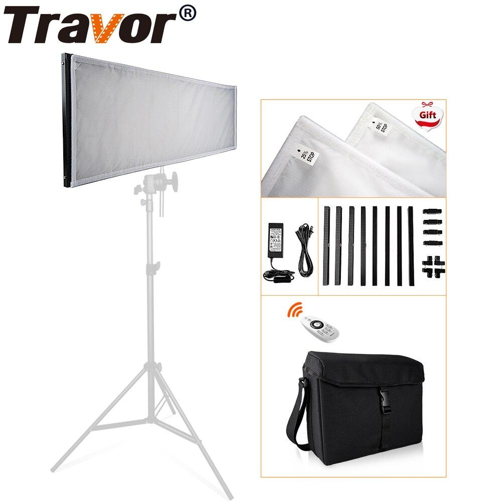 Travor FL-3090 1x3' 30*90 cm Flexible LED Tissu Lumière 576 pcs LED 5500 k Dimmable Photographie La Lumière avec 2.4g à distance et sac