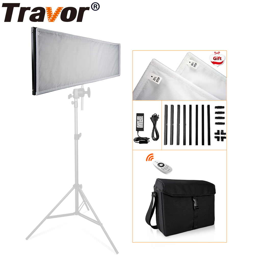 Travor FL-3090 1x3' 30*90cm Flexible LED Fabric Light 576pcs LEDs 5500K Dimmable Photography Light with 2.4G remote and bag travor flexible led video light fl 3060 size 30 60cm cri95 5500k with 2 4g remote control for video shooting