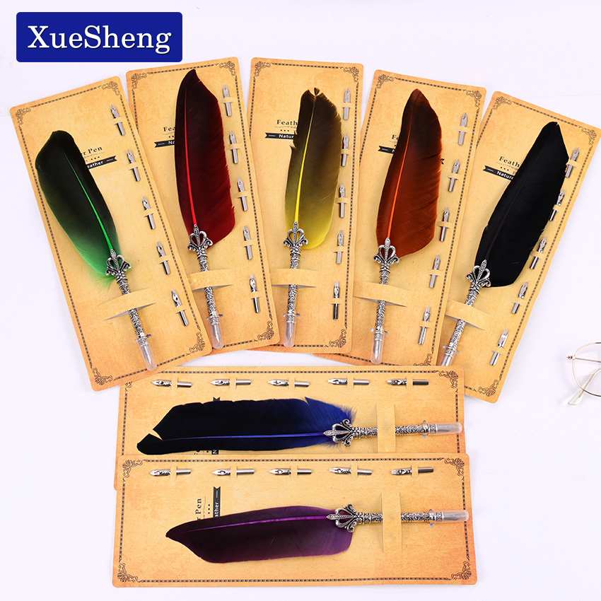 цена на 1 Set Feather Dip Fountain Pen Chancery Quill Writing Pens +5pcs Nib Carved Metal For Fancy Font Calligraphy Pen