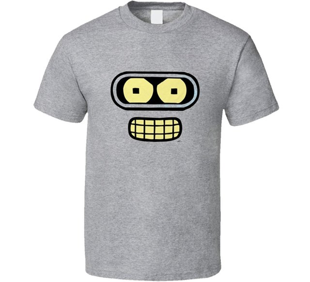 Futurama Bender Rosto Clássico Tv Show T Camisa