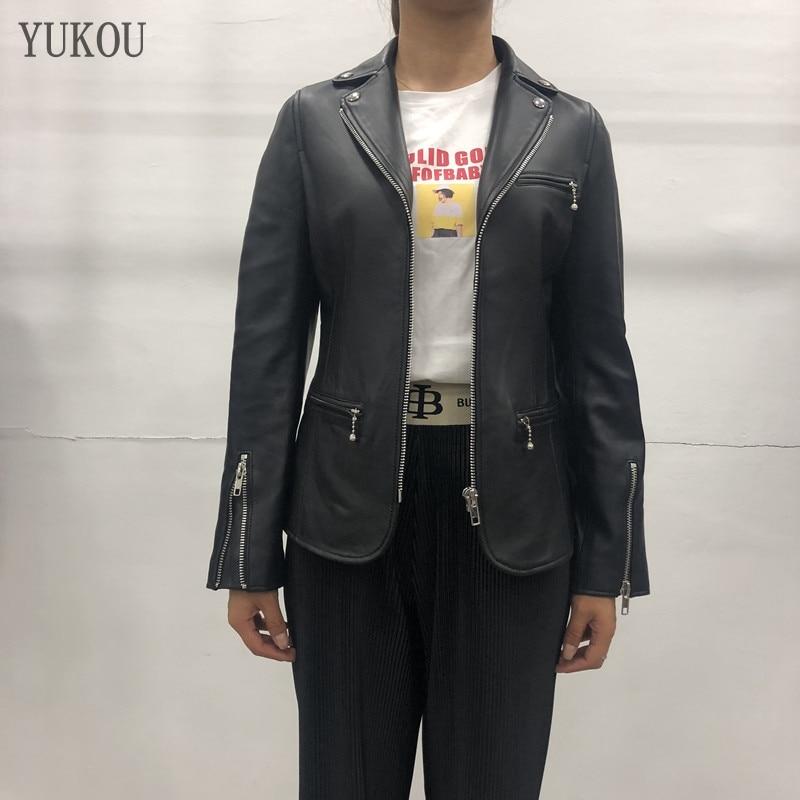 2019 Woman Coats Natural 100% Sheepskin Leather Jackets Female Windbreaker Sheepskin Leather Overcoat Leather