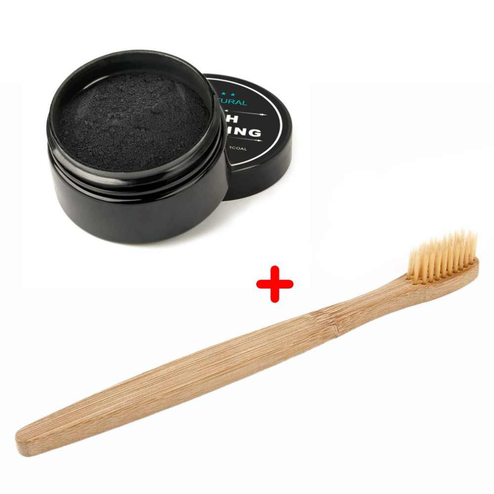 2020 天然歯のホワイトニングホワイトナー活性化有機炭パウダー歯クリーン強化エナメル + 竹歯ブラシ