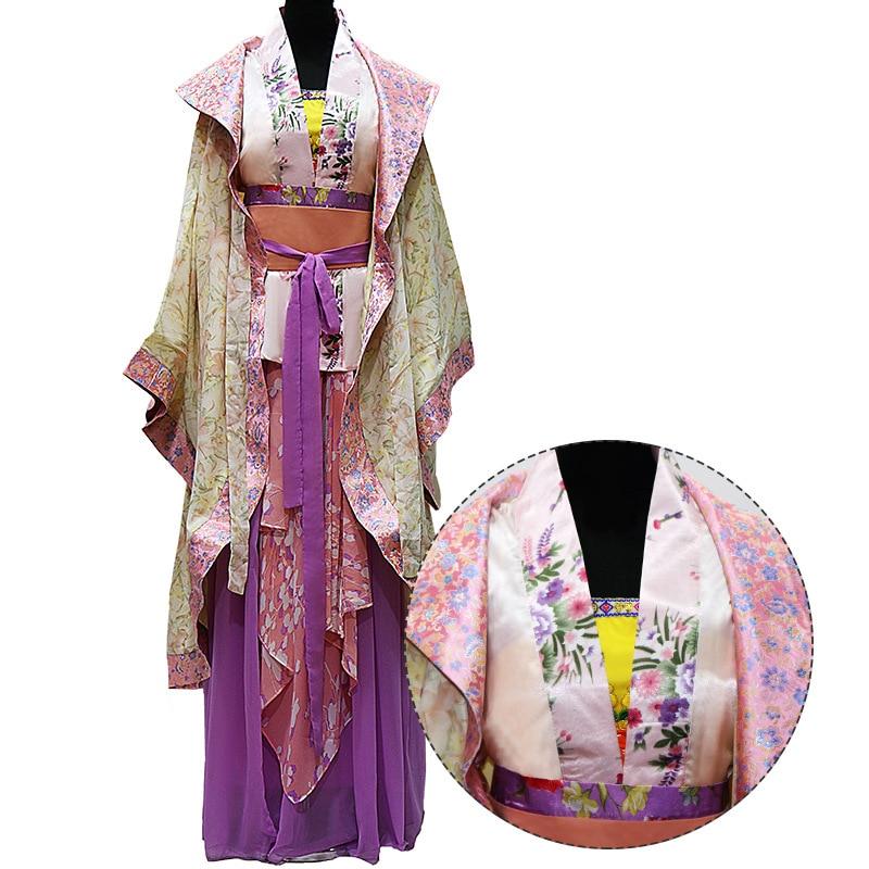 Behendig Vintage Hanfu Kleding Vrouwen Oude Tang-dynastie Concubines Gewaad Nobele Jurk Print Bloemen Cosplay Costome Prestaties Kleding Gemakkelijk Te Repareren
