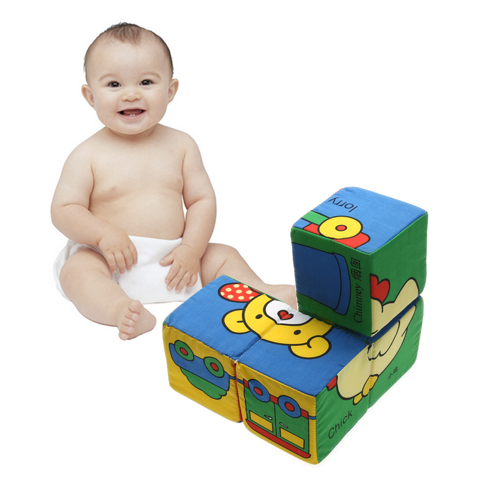 4 in 1 3D Soft Cubes for Children Puzzle Kids Toys for Baby 1 years Cloth Magical Building Educational Toy coeus 3d wooden puzzle the beautiful world the wedding chapel educational games for kids 3d puzzles for adults