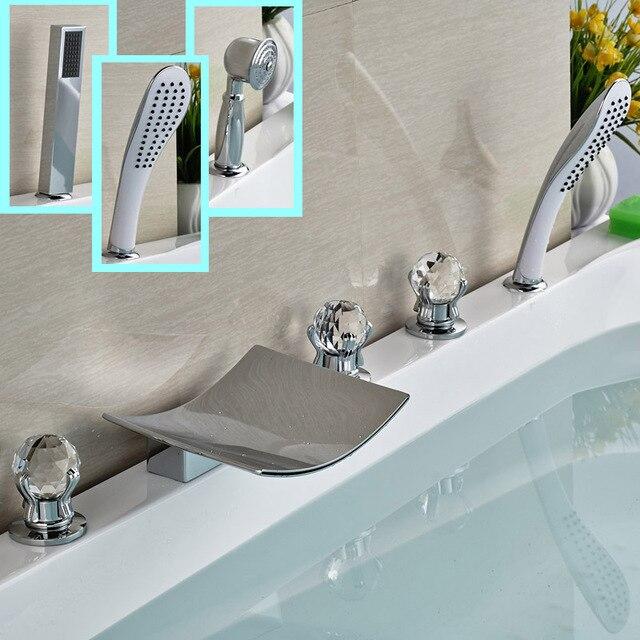 Aliexpress.com : Buy Polished Chrome 5pcs Tub Faucet Deck Mount ...
