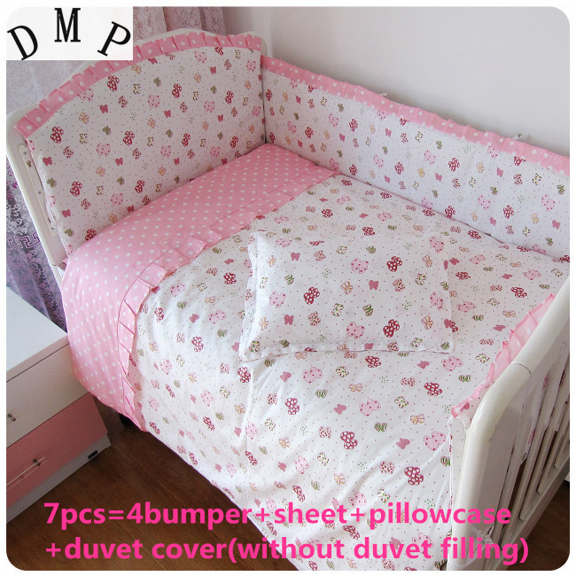 Discount! 6/7pcs baby bedding set baby bed linen cartoon Comforter cot quilt cover sheet bumper ,120*60/120*70cm n light lightning 90327 16ca
