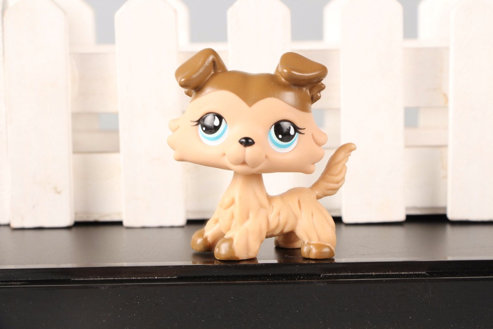 New Pet Collection Figure LPS #893 Collie Dog Brown Caramel Mocha Blue Eyes Kids Toys cute pet rare color sausage short hair dog action figure girl s collection classic anime christmas gift lps doll kids toys