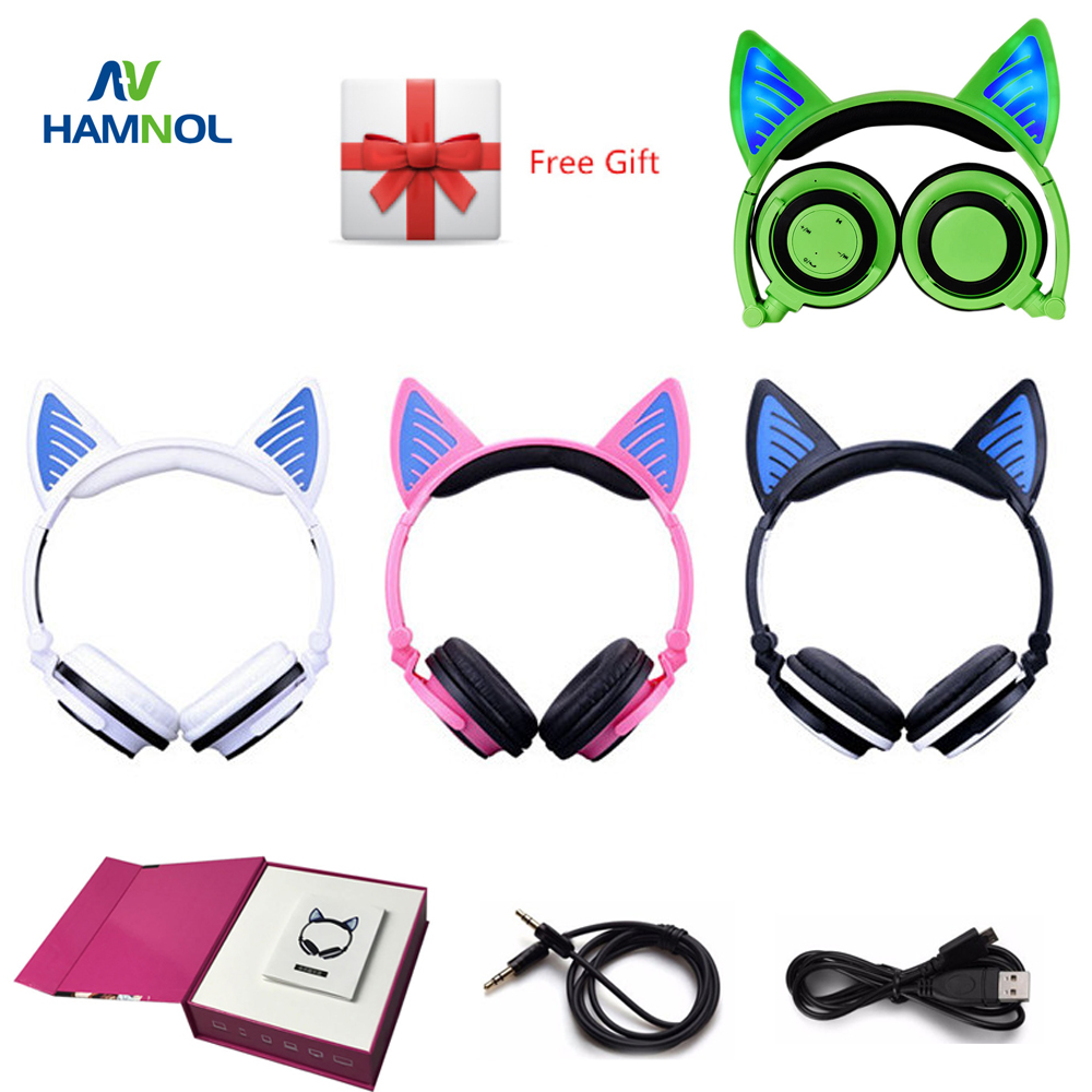 Wireless Bluetooth V4.2 Headset Cat Headphone Glowing Cat Ear Earphone with Mic for PC Computer and Mobile Phone universal mini wireless bluetooth headphone stealth earphone phone headset with mic handfree for all mobile phone