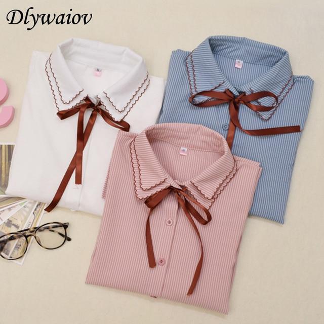 Small Fresh Stripe Shirt Women Tops Korean Bow Knot Double Layer Neck Female Blouse Lovely Student Style Casual Chemise Femme
