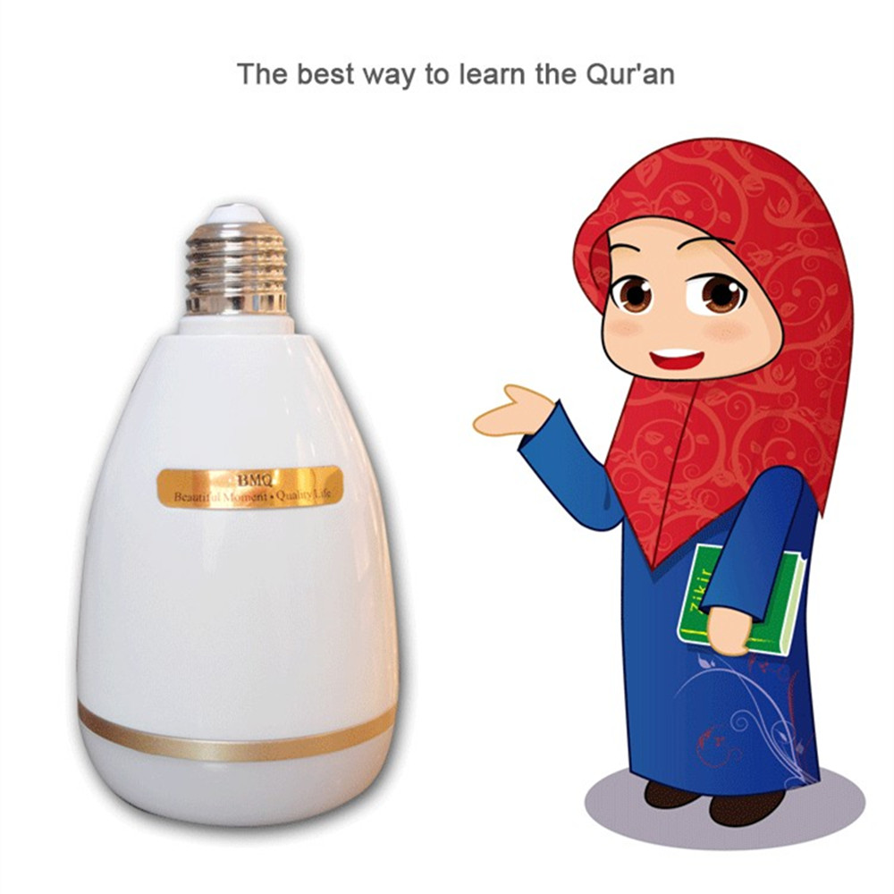 Wireless Bluetooth RGB LED Light Bulb Quran Speaker Remote APP Control Touch Lamp Muslim FM TF Audio Music Player 25 Languages (6)