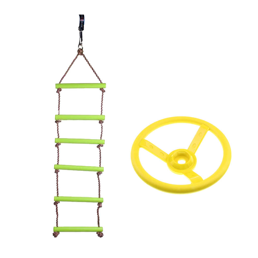 Playhouse 6 Rungs Rope Climbing Ladder +Steering Wheel Toy Swing Outdoor Sports Gymnastic Game Activity